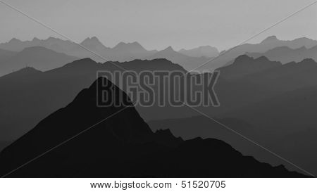 Silhuettes Of Mountains