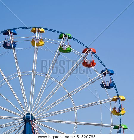 Ferris Wheel On A Bright Sunny Day