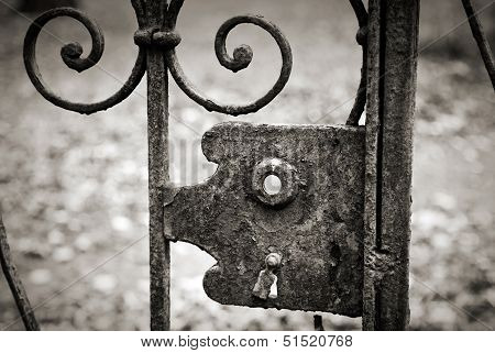 Empty Old Lock On The Metal Fence. Monochrome Retro Stylized Photo