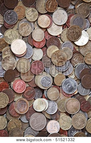 Vertical Photo Background With Small Coins Of Different European Countries