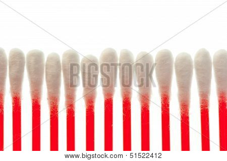 Pure Cotton Buds Lined Up In A Row
