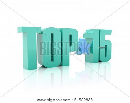Top fifteen word isolated on white background. 3D illustration.