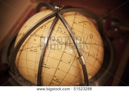 Vintage Travel Star Sky Globe In Wooden Box