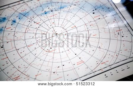 Astronomical Paper Star Map Fragment With Constellations  Names On Russian