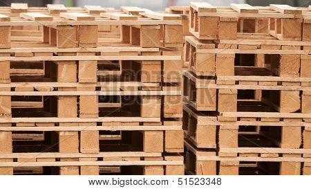 Pile Of Wooden Pallets On A Storage Area