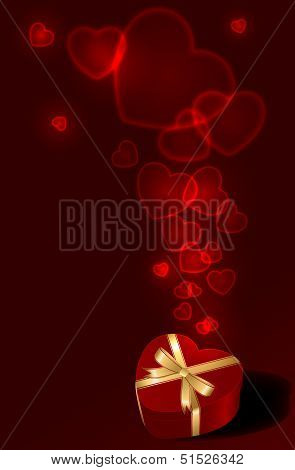 Giftbox with Hearts on red background