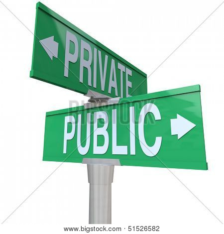 Two way street signs with the words Public and Private comparing your options for being a corporation or choosing privacy over being out in the open