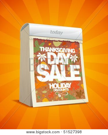 Thanksgiving day sale design in form of tear-off calendar. Eps10