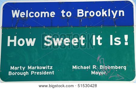 Welcome to Brooklyn sign near Verrazano bridge