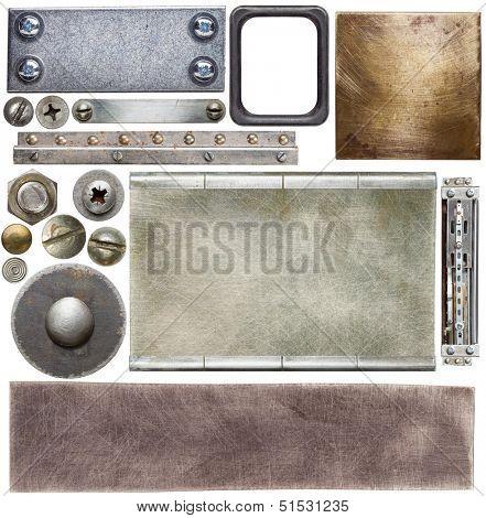 Metal textures, backgrounds, screw heads