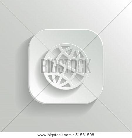 Globe Icon - Vector White App Button