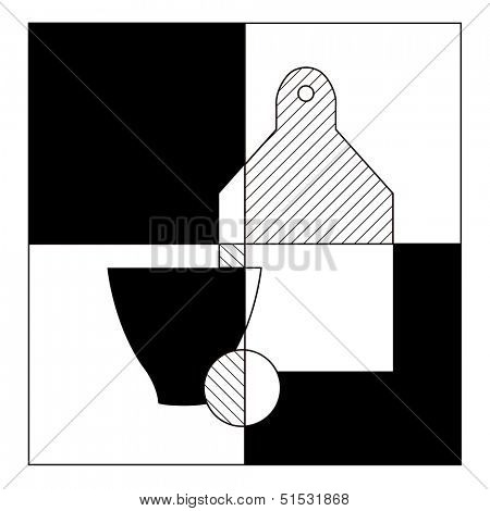 Abstract food geometric black and white still life. Vector illustration.