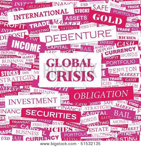 GLOBAL CRISIS. Concept vector illustration. Word cloud with related tags and terms. Graphic tag collection. Wordcloud collage.
