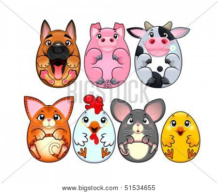 Funny animals rounded like eggs. Cartoon, vector and isolated characters.