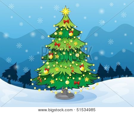 Illustration of a christmas tree in the middle of the snowy land