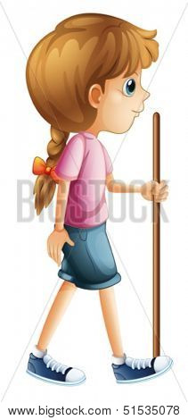 Illustration of a young lady hiking with a stick on a white background