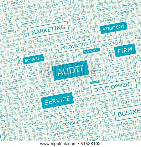 AUDIT. Word cloud illustration. Tag cloud concept collage. Vector text conceptual illustration. Usable for different business design.