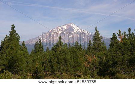 Dramatic Sun Light Hits Mount Shasta Cascade Range California