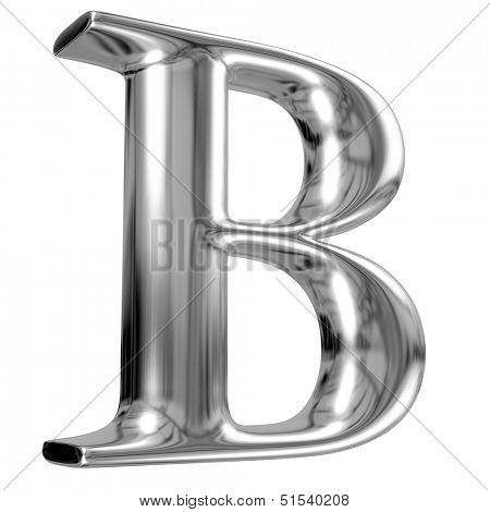 Metal Letter B from chrome solid alphabet.