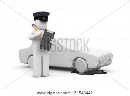 Police officer writing a vehicle accident