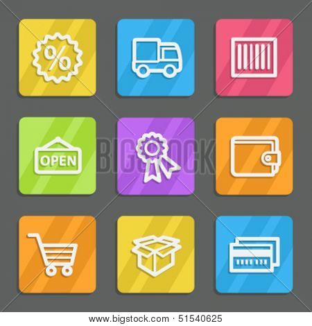 Shopping web icons set 2, color flat buttons