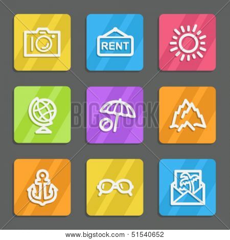 Travel web icons set 5, color flat buttons