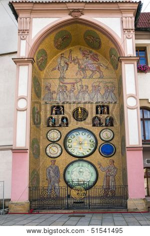 Astronomical clock in Olomouc, Czech Republic.