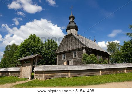 Old wooden church in museum near Minsk, Belarus.