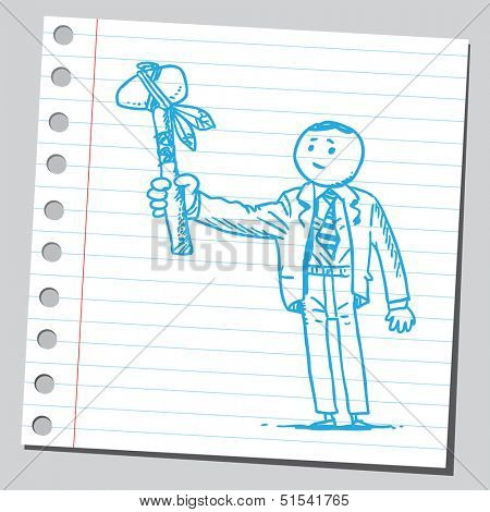 Businessman with tomahawk