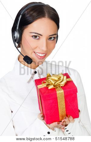 Call center operator with a gift box, white background, copyspace.