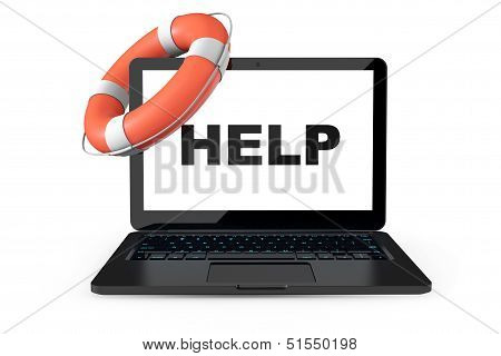 Electronic Service Concept. Modern Laptop With Life Buoy And Help Sign