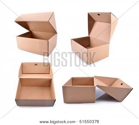 Collection of cardboard boxes isolated on white background