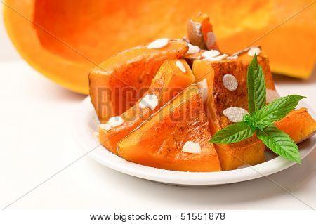Baked Pumpkin Slices, Autumn Gourmet Composition