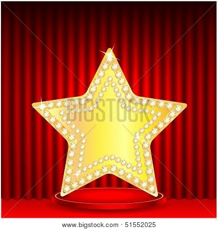 Gold Star On A Podium