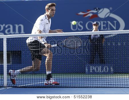 Professional tennis player Marcel Granollers  during  fourth round match at US Open 2013