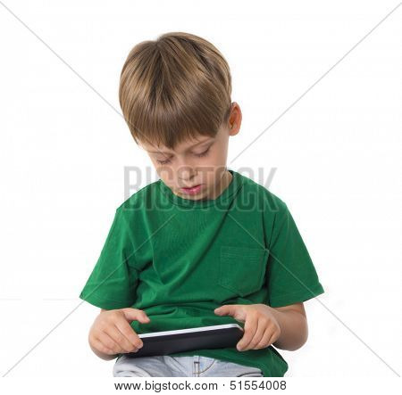 young boy with tablet computer