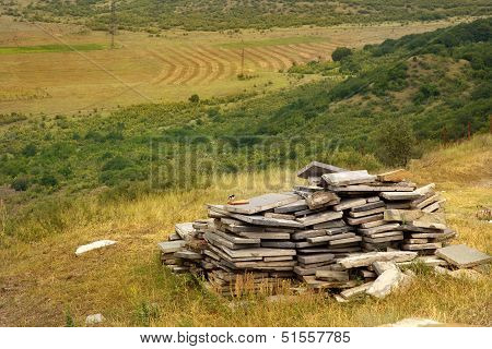 Building Material On The Background Of Field