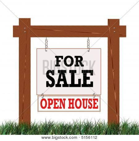 Real Estate For Sale Sign Open House