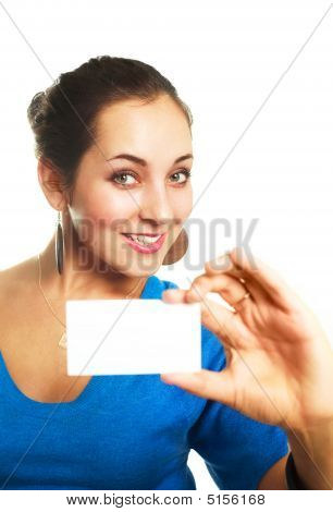 Woman Giving Us A Business Card