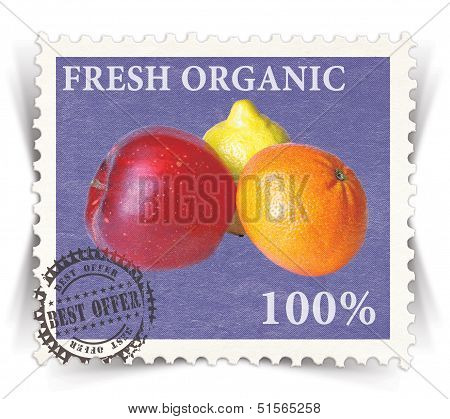 Label For Various Fresh Organic Products Ads Stylized As Post Stamp