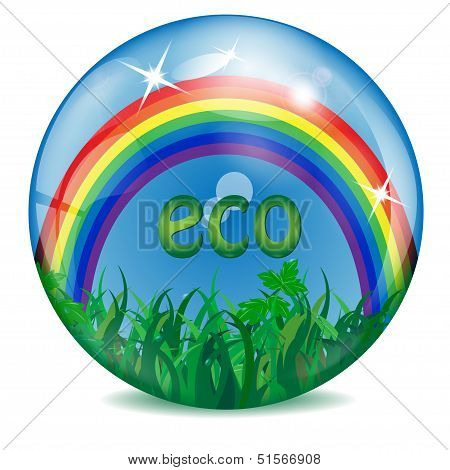 sphere with a rainbow grass sky and letters inwardly
