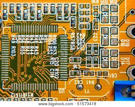Electronic Microcircuit Taken Closeup.