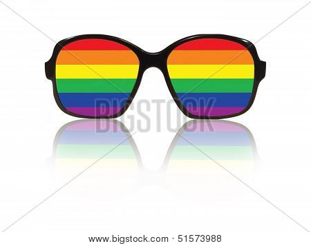 Glasses Frame And Gay Pride Flag Inside With Reflection.