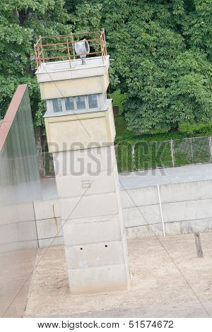 Observation Tower At The Berlin Wall Death Strip