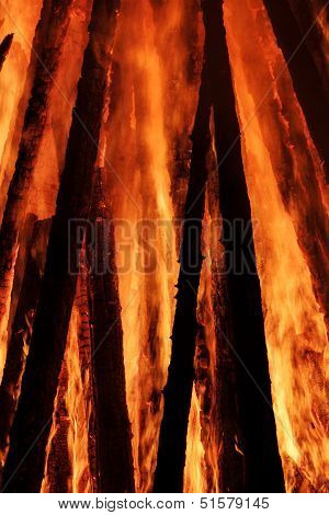 Fragment Of Fire Of Wooden Construction