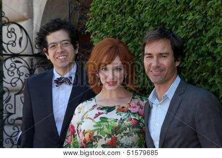 LOS ANGELES - SEP 29:  Geoffrey Arend, Christina Hendricks, Eric McCormack at the Rape Foundation Annual Brunch at Green Acres Estate on September 29, 2013 in Beverly Hills, CA
