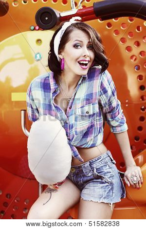 Lifestyle. Amusing Funny Girl With Cotton Candy Smiling