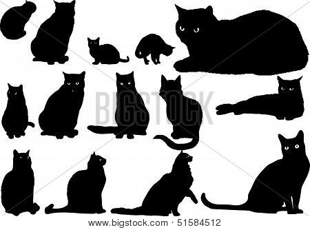 Fourteen_cat_silhouettes.eps