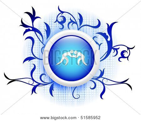 wrestling icon on blue decorative button