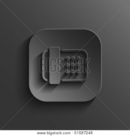 Fax Machine Icon - Vector Black App Button